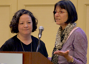 Suzanne Gordon (r) makes the case for unionized healthcare workers by telling a personal story that nurse & Porter Hospital unit  President Alice Leo knows first hand.